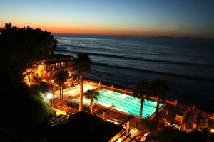 malaga cove pool at sunset