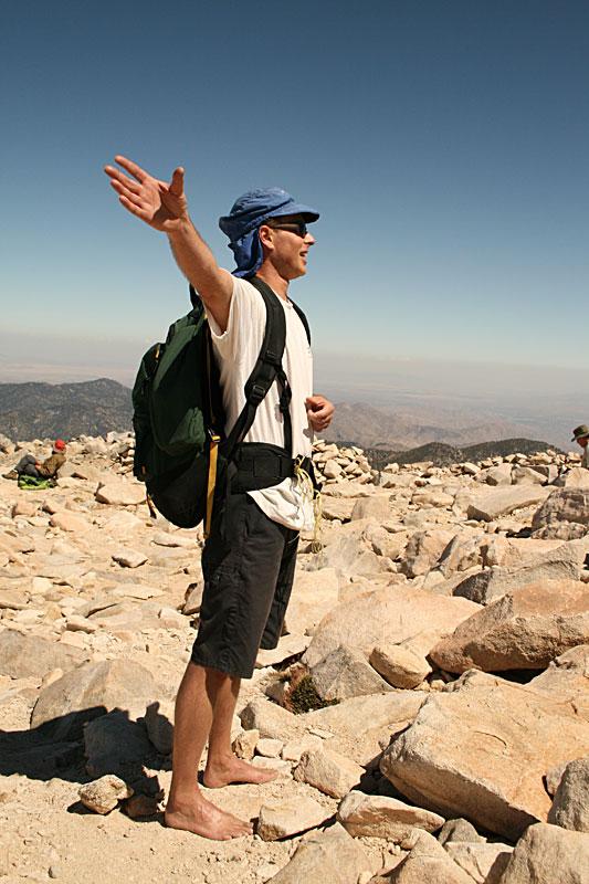 barefoot on summit hike